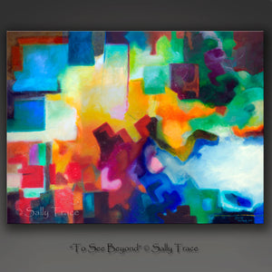 "Abstract geometric painting giclee print on canvas by Sally Trace ""To See Beyond"""