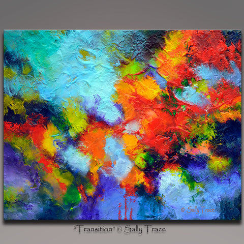 Transition, abstract textured impasto painting