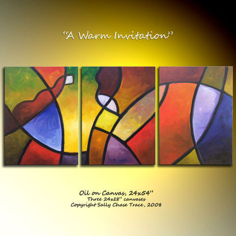 "Modern triptych paiting by Sally Trace, ""A Warm Invitation"""