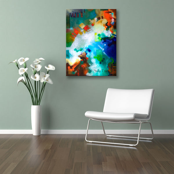 "Modern contemporary abstract wall art giclee print by Sally Trace, ""Third Level Harmonics"" by Sally Trace, room view"
