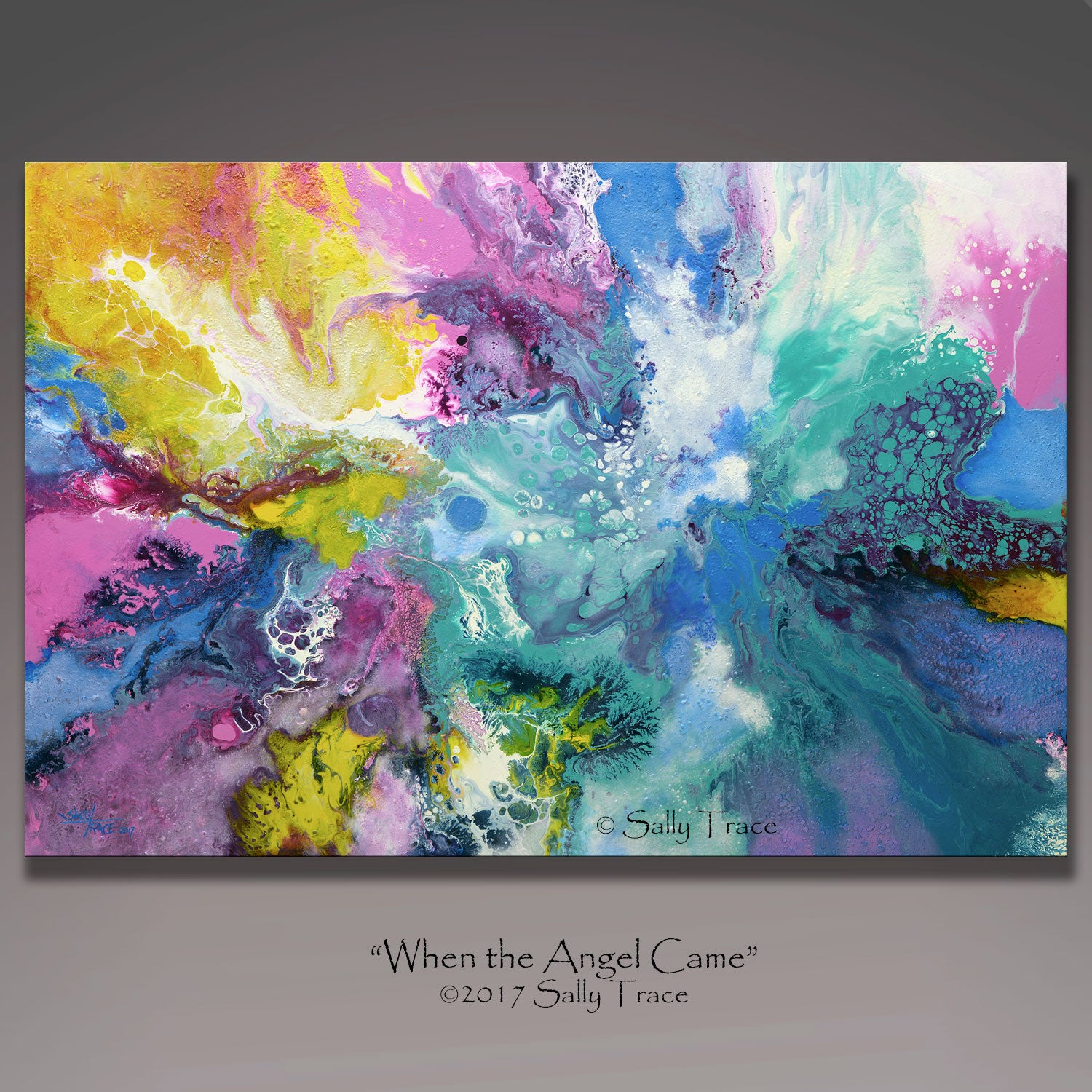 Modern contemporary fluid art prints from the painting When The Angel Came by Sally Trace