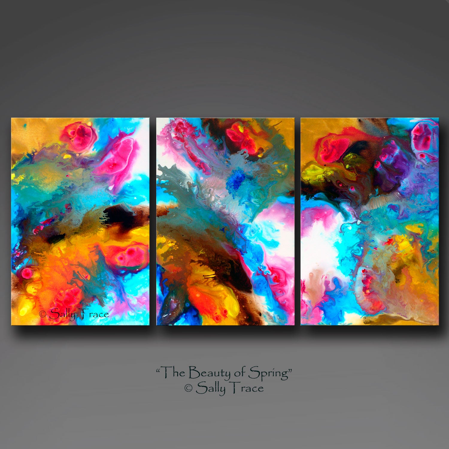 "Contemporary abstract art for sale, fluid art triptych giclee print set by Sally Trace ""The Beauty of Spring"""