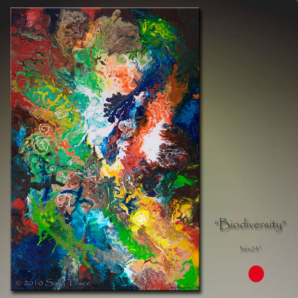 "Contemporary modern abstract painting ""Biodiversity:, earth art, by Sally Trace"