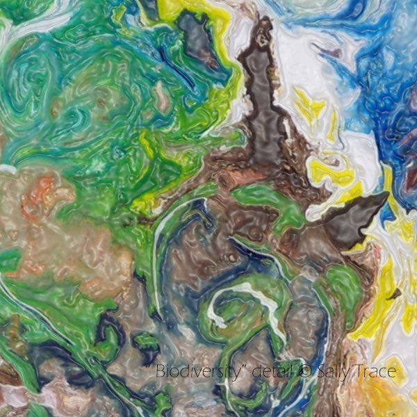 "Fluid abstract art for slae by Sally Trace, ""Biodiversity"", detail"