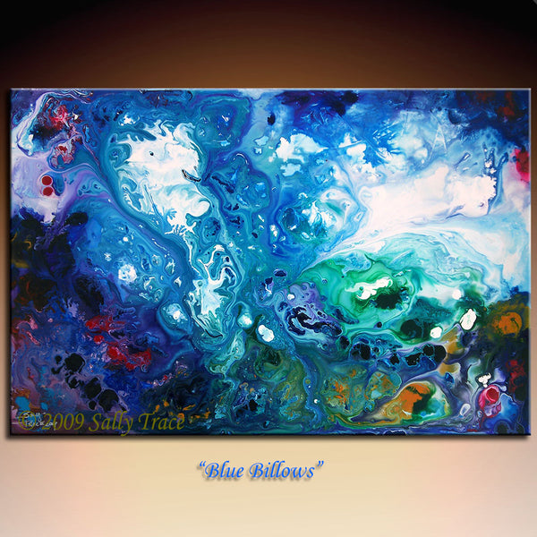 Blue Billows abstract art by Sally Trace