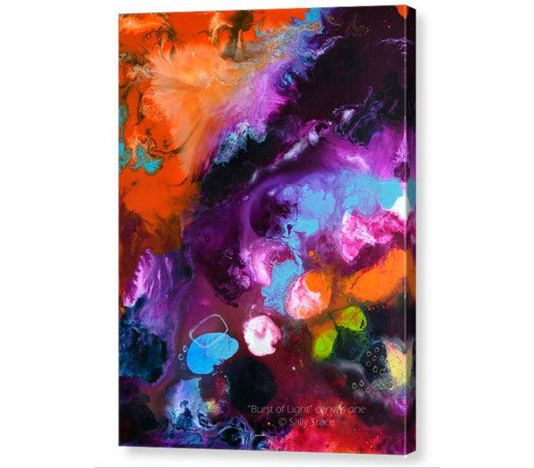 Burst of Light, pour painting art giclee print triptych by Sally Trace, canvas one
