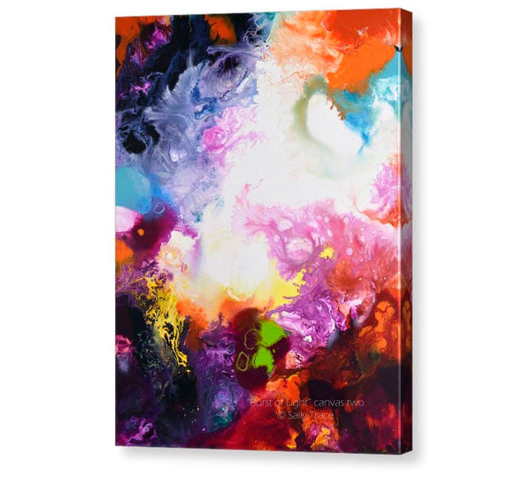 Burst of Light, pour painting art giclee print triptych by Sally Trace, canvas 2