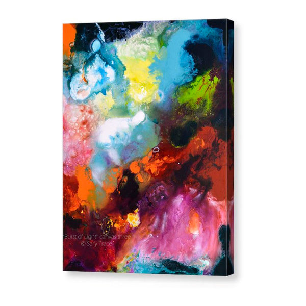 Burst of Light, pour painting art giclee print triptych by Sally Trace, canvas 3