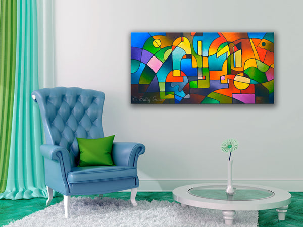 "Contemporary abstract art for sale by Sally Trace ""Carnival"" giclee prints on canvas"