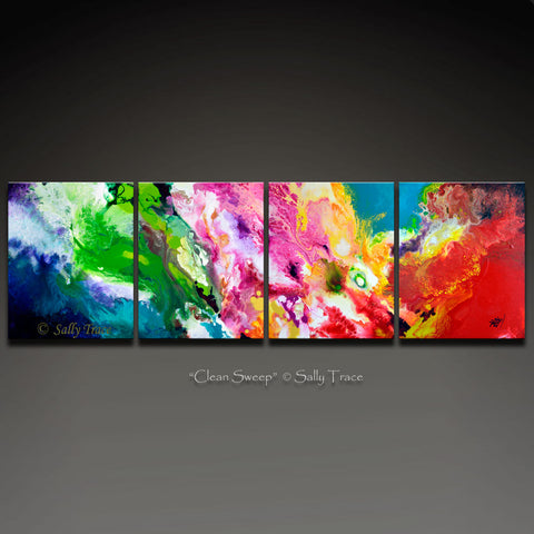 Clean Sweep multi panel abstract painting print by Sally Trace