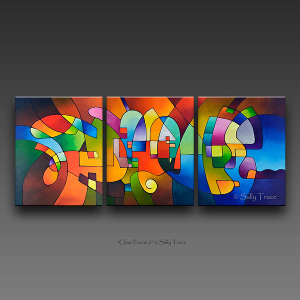 Clear Focus 2, modern abstract paintings on canvas, canvas giclee print set from my original abstract triptych paintings