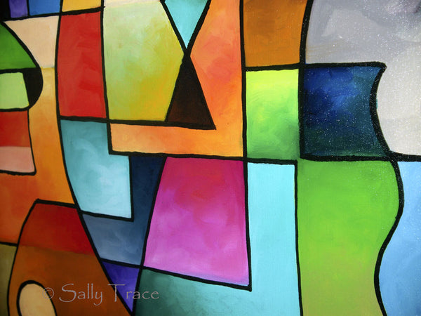 Clear Focus, original geometric abstract painting by Sally Trace