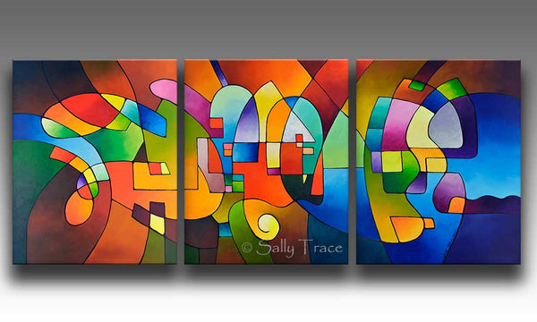 Clear Focus 2, canvas giclee print set from my original abstract triptych paintings