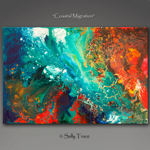 "Fluid art modern contemporary canvas prints, ""Coastal Migration"", fluid art painting print by Sally Trace"