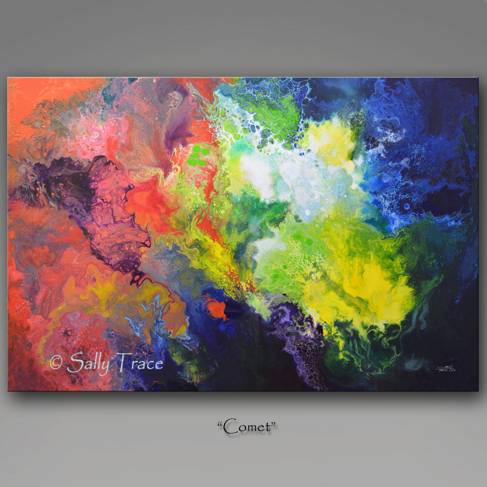 Comet, modern contemporary canvas giclee print from the original fluid pour painting by Sally Trace