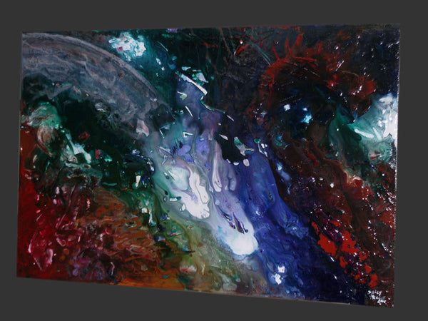 Comet, fluid space art abstract painting by Sally Trace