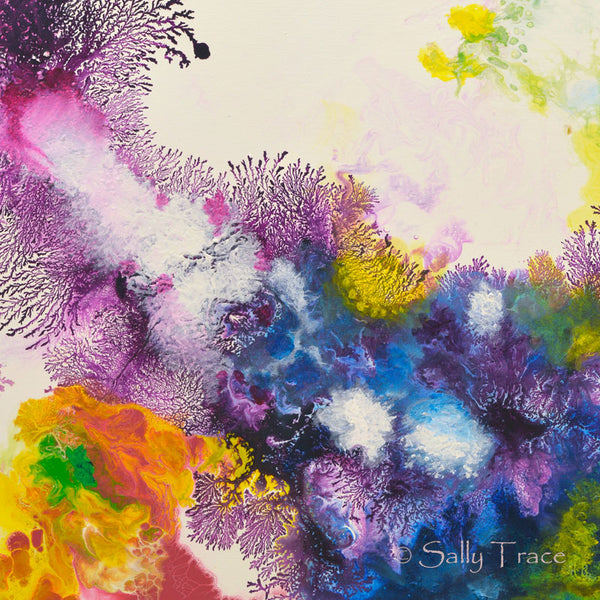 Coming Alive 2 abstract pour painting giclee prints for sale by Sally Trace, detail