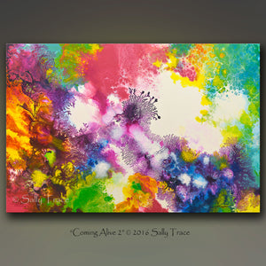 Coming Alive 2 abstract pour painting giclee prints for sale by Sally Trace