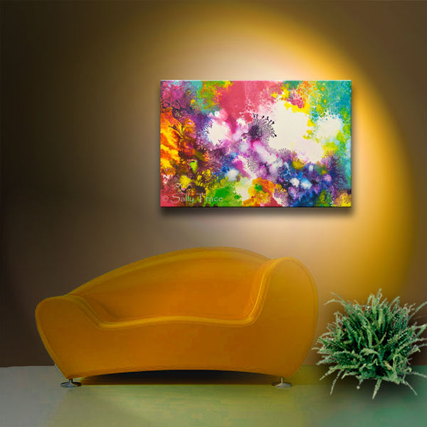 Coming Alive 2 abstract pour painting giclee prints for sale by Sally Trace, room view