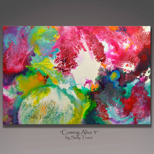 Coming Alive 3, abstract fluid contemporary art prints by Sally Trace