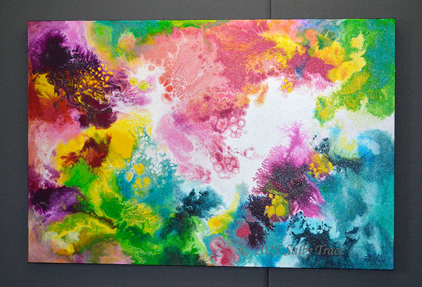 Coming Alive, original pour painting fluid art by Sally Trace