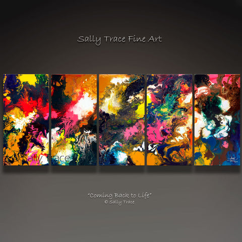 "Modern art giclee print set by Sally Trace ""Coming Back to Life"" five canvases"