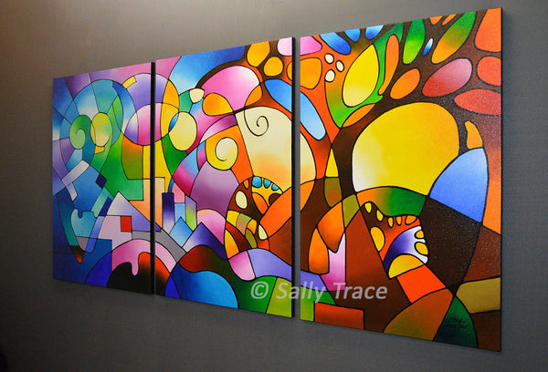 Daydream, original triptych geometric landscape painting by Sally Trace