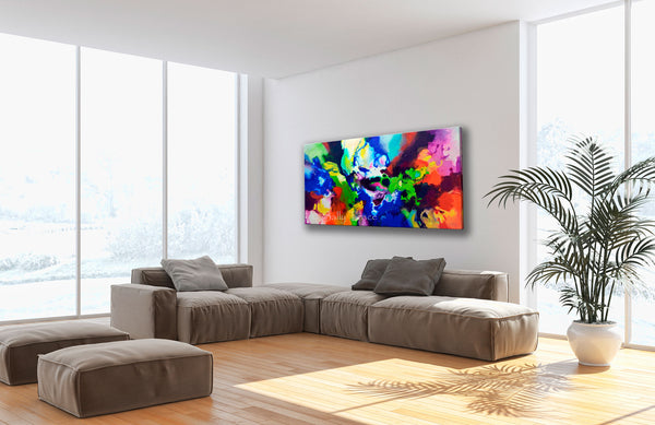 Decorum, canvas prints of the fluid abstract painting by Sally Trace, room view