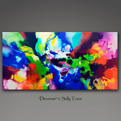 Decorum, canvas prints of the fluid abstract painting by Sally Trace, detail