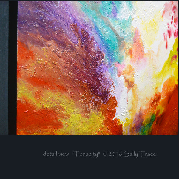 "Original contemporary fluid abstract art for sale by Sally Trace ""Tenacity"""