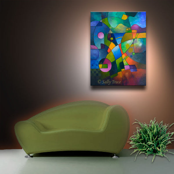 Direction North, geometric art contemporary canvas prints for sale by Sally Trace
