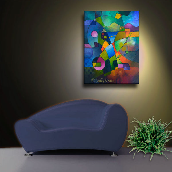Direction North, original abstract painting giclee print by Sally Trace, room view