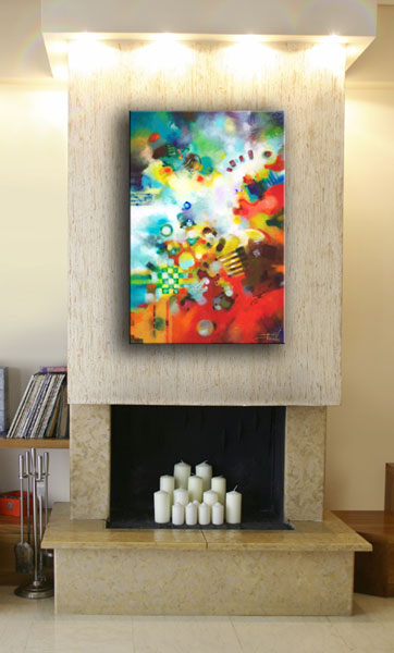 Dissolving Obstacles, original textured abstract painting by Sally Trace