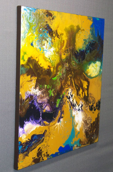Modern fluid art painting, acrylic on canvas, framed, by Sally Trace