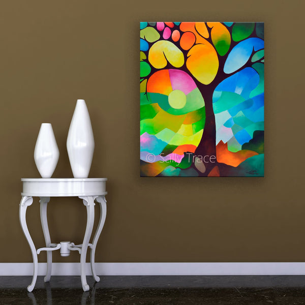 Dreaming Tree modern art giclee print by sally trace