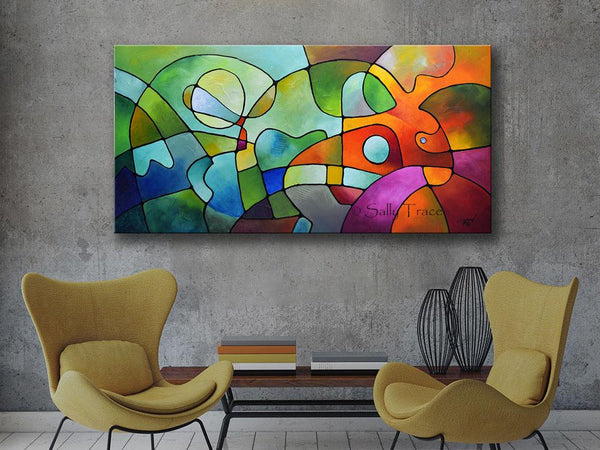 Equanimity, contemporary abstract modern art prints for sale by Sally Trace, room view