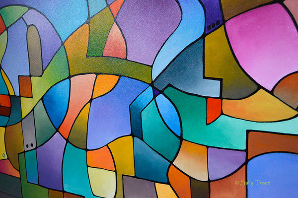 """Equilibrium"" original geometric abstract painting for sale by Sally Trace, close up view"