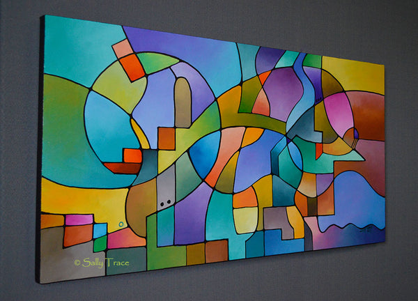"""Equilibrium"" original geometric abstract painting for sale by Sally Trace, side view"