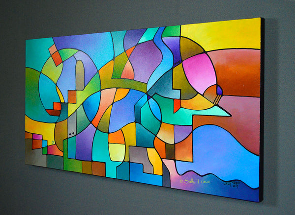 """Equilibrium"" Original Abstract Geometric Painting"
