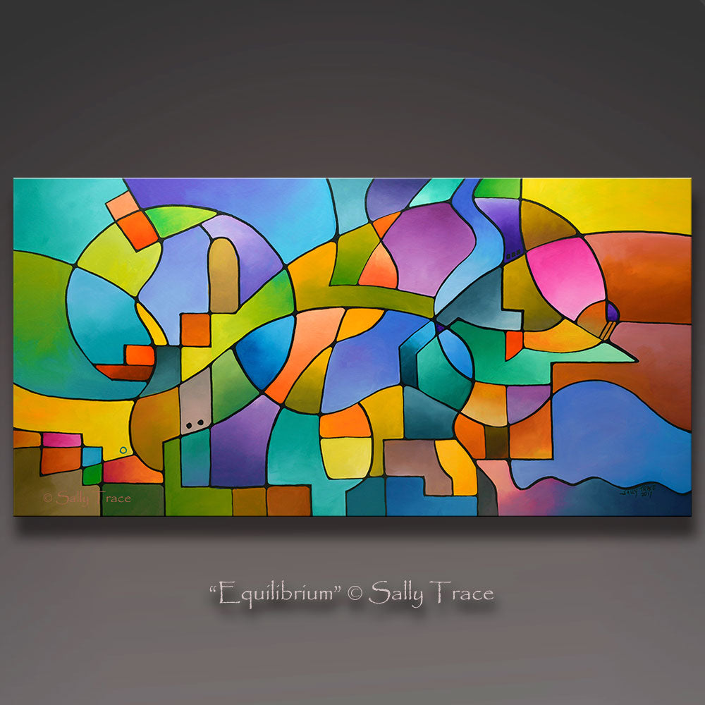 """Equilibrium"" original geometric abstract painting for sale by Sally Trace"