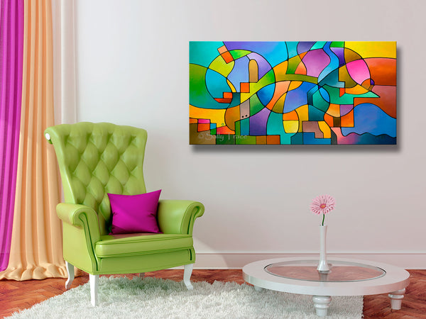 """Equilibrium"" original geometric abstract painting for sale by Sally Trace, wall art view"