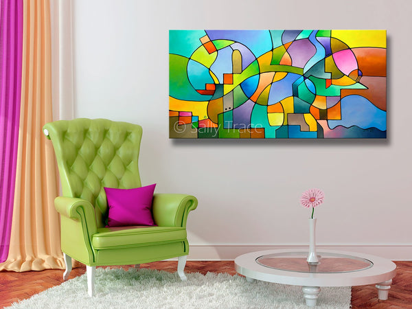 Equilibrium, contemporary art for sale by Sally Trace, room view