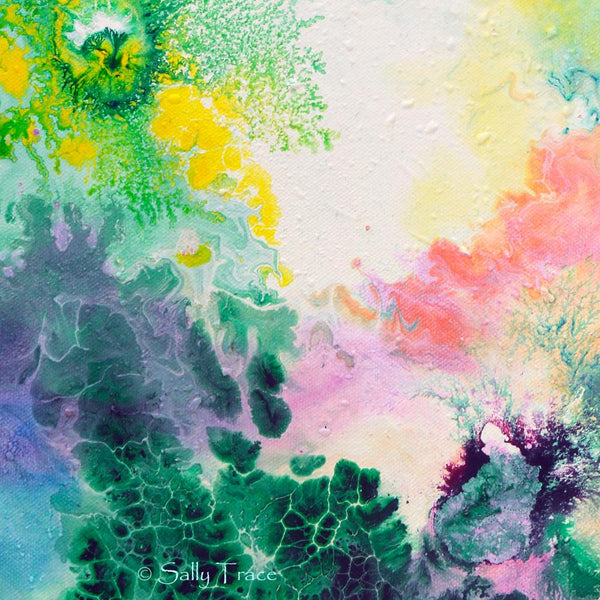Ethereal Resonance, giclee print on stretched canvas from the original fluid painting by Sally Trace, detail