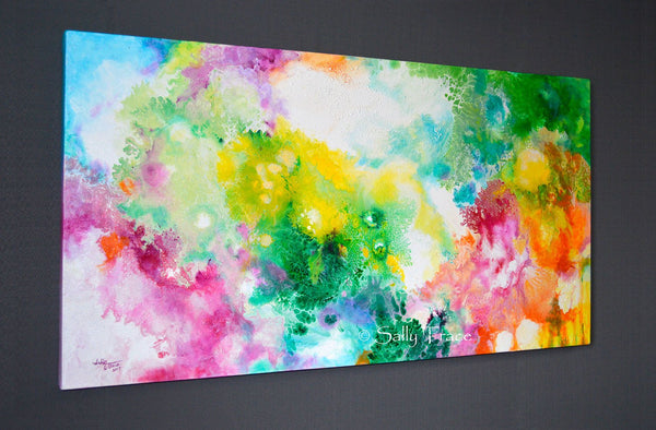 Ethereal Resonance, giclee print on stretched canvas from the original fluid painting by Sally Trace, side view