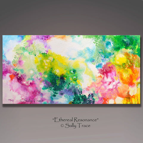 Ethereal Resonance, giclee print on stretched canvas from the original fluid painting by Sally Trace