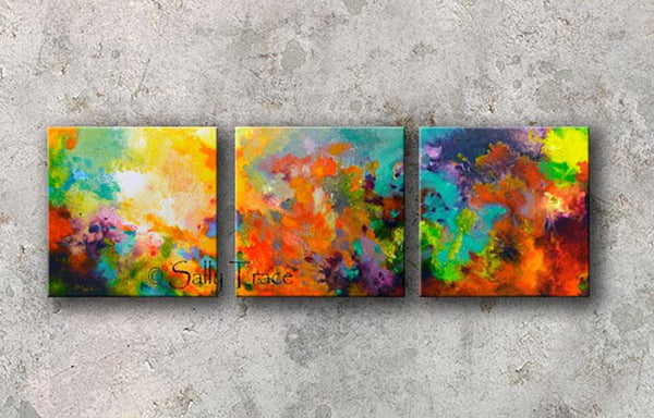 Momentum, original abstract triptych paintings. Three 20x20 inch paintings, acrylic on canvas. A richly detailed fluid painting with light texture