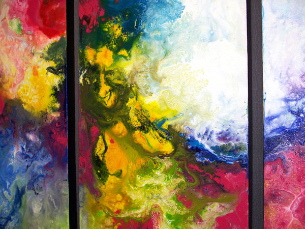 Exes and Ohs, triptych fluid acrylic painting on canvas by Sally Trace
