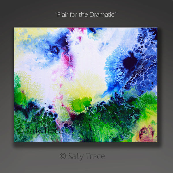 Flair for the Dramatic, fluid art pour painting giclee print on canvas by Sally Trace