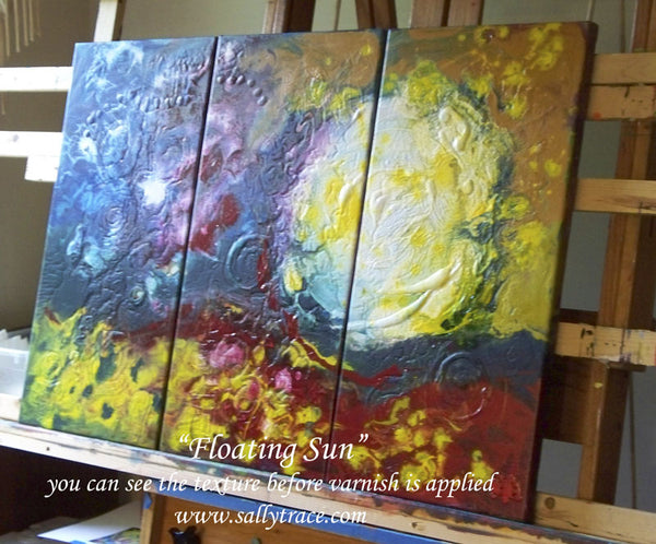 Floating Sun, fluid painting triptych