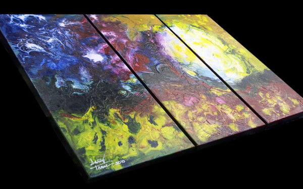 Floating Sun, fluid painting triptych, sold